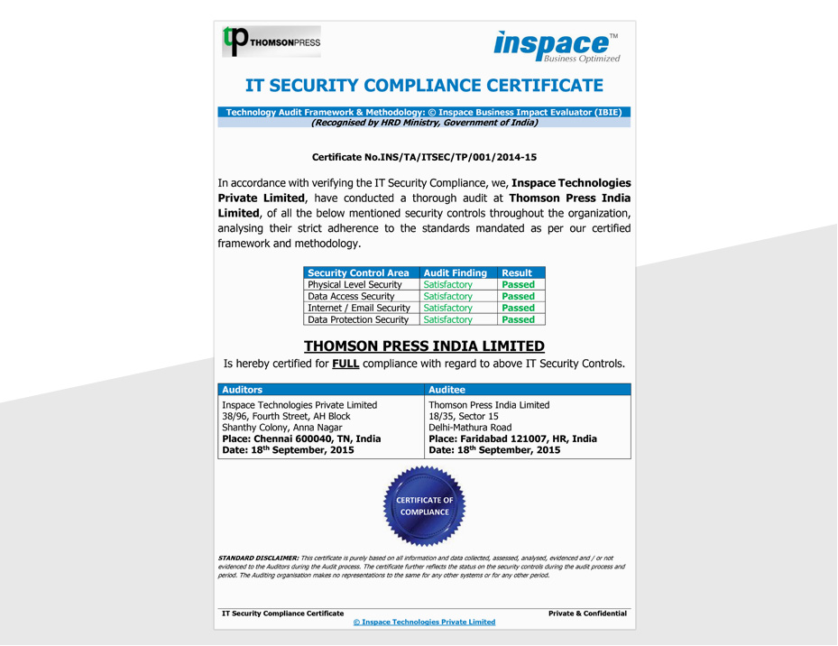 Thomson Pressprinting Certification And Compliancesleading